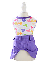Dog Clothes/Jumpsuit Green / Yellow / Purple Spring/Fall Cartoon Fashion