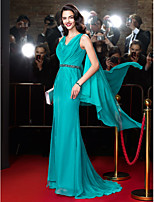 TS Couture® Formal Evening Dress-Jade Sheath/Column Cowl Sweep/Brush Train Chiffon