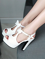 Women's Shoes Leatherette Chunky Heel Heels / Peep Toe / Platform Sandals Office & Career /  Blue / Pink / White