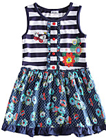 Children's Dress Flower Embroidery Stripes Dress Girls Dresses(Random Printed)