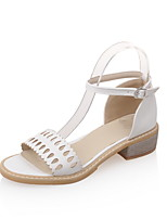 Women's Shoes Leatherette Low Heel Open Toe Sandals Casual Blue / Pink / White / Beige