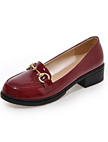 Women's Shoes Patent Leather Flat Heel Pointed Toe Loafers Outdoor / Office & Career / Casual Black / Red