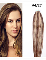 #4/27 Double Drawn Tape In Hair Extensions 100% Remy Indian Human Hair Black Brown Blonde Pu Skin Weft 20pcs promotion