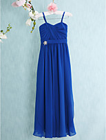 Floor-length Chiffon Junior Bridesmaid Dress-Royal Blue Sheath/Column Spaghetti Straps