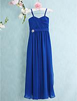 באורך רצפת שיפון שושבינה הזוטר שמלה-מלוכה כתפיות ספגטי נדן / טור כחול