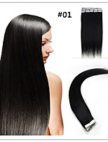 Tape In Human Hair Extension Natural Black 20pcs Remy Brown Brazilian Virgin Straight Skin Weft
