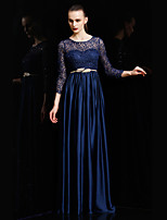 Formal Evening Dress - Burgundy / Royal Blue / Gold / Silver Ball Gown Jewel Floor-length Lace / Charmeuse