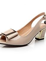 Women's Shoes  Chunky Heel Heels / Peep Toe / Slingback / Open Toe Sandals Dress / Casual Black / Almond
