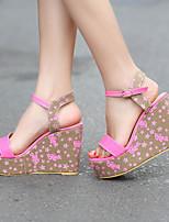 Chaussures Femme-Extérieure / Habillé / Décontracté-Bleu / Rose-Talon Compensé-Compensées / Talons / Bout Ouvert / A Plateau-Sandales /