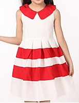 Girl's Black / Red Dress,Stripes Cotton Summer / Spring