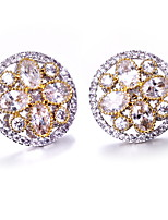 Top Quality 2 tone plate color earrings Deluxe Prong Setting Cubic Zircon Brass Jewelry Round stud earrings