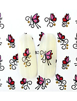 10PCS 3D Water Transfer Pink/Red Butterfly Nail Art Sticker DIY Decoration  Nail Tools Nail Tips BLE839D