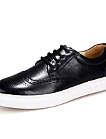 Men's Shoes Office & Career / Casual Leather Fashion Sneakers Black / Burgundy