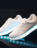 LED light Casual Leather Fashion Sneakers Black / White