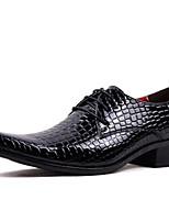 Черный Красный-Для мужчин-Для прогулок Для офиса Повседневный Для вечеринки / ужина-СинтетикаУдобная обувь-Туфли на шнуровке