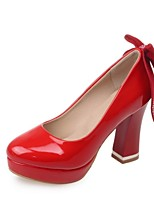 Women's Shoes Patent Leather Chunky Heel Heels Heels Wedding / Party & Evening / Dress Black / Red / White