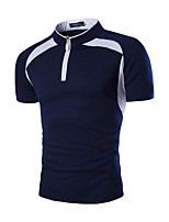 Men's Fashion Zipper Stand Collar Color Block Slim Fit Short-Sleeve Polos, Cotton/Polyester