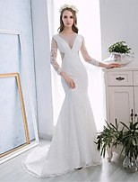 Trumpet/Mermaid Wedding Dress - White Chapel Train Halter Lace / Satin