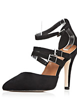 Women's Shoes Suede Stiletto Heel Heels / Pointed Toe Sandals Party & Evening / Dress / Casual Black(Genuine leather)