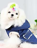 Cani Cappottini / Giacche di jeans-Inverno / Primavera/Autunno-Di tendenza / Tenere al caldo Jeans-Blu- diCotone