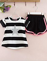 Boys' Casual/Daily Striped Sets,Cotton Summer Short Sleeve Clothing Set