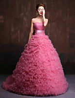 Formal Evening Dress-Watermelon Ball Gown Sweetheart Chapel Train Tulle / Charmeuse