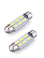 2XFestoon 6x5630SMD 6000K White Light LED Bulb for Car (DC 12V,36mm)