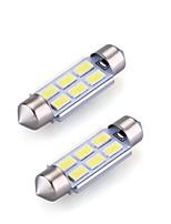 2xfestoon 6x5630smd 6000k lumière blanche Ampoule LED pour la voiture (dc 12v, 36mm)