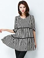Women's Striped Black Blouse,Round Neck Short Sleeve