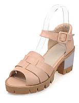 Zapatos de mujer-Tacón Robusto-Punta Abierta-Sandalias-Casual-Semicuero-Rojo / Gris / Almendra