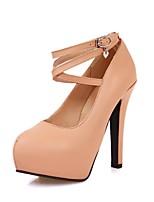 Women's Shoes Leatherette Stiletto Heel Heels Heels Wedding / Office & Career / Party & Evening Black / Almond