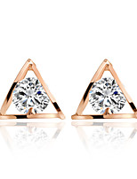 Shine Lovely Hollow Transparent Zircon Gold Triangle Stud Earrings