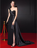 TS Couture® Formal Evening Dress-Black Sheath/Column One Shoulder Floor-length Chiffon / Stretch Satin / Sequined
