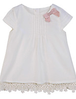 Girl's Beige Dress,Bow Cotton Summer