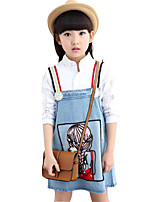 Girl's Cotton Spring / Fall Cartoon Print Cowboy Suspender Dress