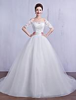 웨딩 드레스 - 아이보리(색상은 모니터에 따라 다를 수 있음) 볼 가운 채플 트레인 오프 더 숄더 튤