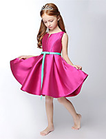 A-line Short/Mini Flower Girl Dress - Satin Sleeveless