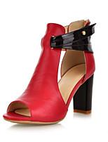 Women's Shoes Cowhide Chunky Heel Heels / Open Toe Sandals / Heels Casual Black / Brown / Red / Almond