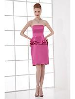 Lanting Short/Mini Stretch Satin Bridesmaid Dress - Fuchsia Sheath/Column Strapless