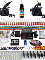 Solong Tattoo Complete Tattoo Kit 2 Pro Machine Guns 54 Inks Power Supply Foot Pedal Needles Grips Tips TK251