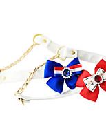 Perros Collar / Correas Ajustable/Retractable / Brillante / Lazo Rojo / Azul Cuero PU