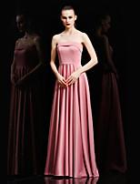 저녁 정장파티 드레스-블랙 / 캔디 핑크 볼 드레스 바닥 길이 끈없는 스타일 새틴