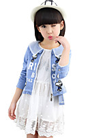 Girl's Cotton Spring / Fall Letter Doll Print Bud Silk Gauze Fashion Two-piece Dress