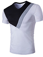 Men's Short Sleeve T-Shirt , Cotton Casual / Work / Formal / Sport Pure