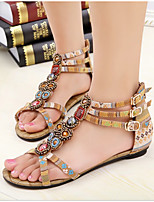 Women's Shoes Canvas Flat Heel Round Toe / Open Toe Sandals Dress Yellow / Burgundy