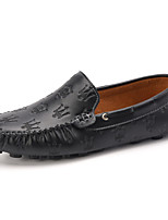 Men's Shoes Office & Career / Party & Evening / Casual Leather Loafers / Slip-on Black / White / Orange
