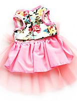 Dog Dress Pink Summer / Spring/Fall Floral / Botanical Fashion