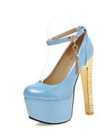 Calçados Femininos-Saltos-Saltos-Salto Grosso-Azul / Rosa / Vermelho-Courino-Casamento / Escritório & Trabalho / Festas & Noite
