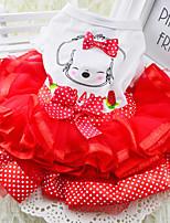 Dog Dress Red / Green / Yellow Summer / Spring/Fall Bowknot / Polka Dots Fashion
