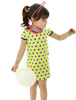 Girl's Green / Yellow Dress Cotton Summer